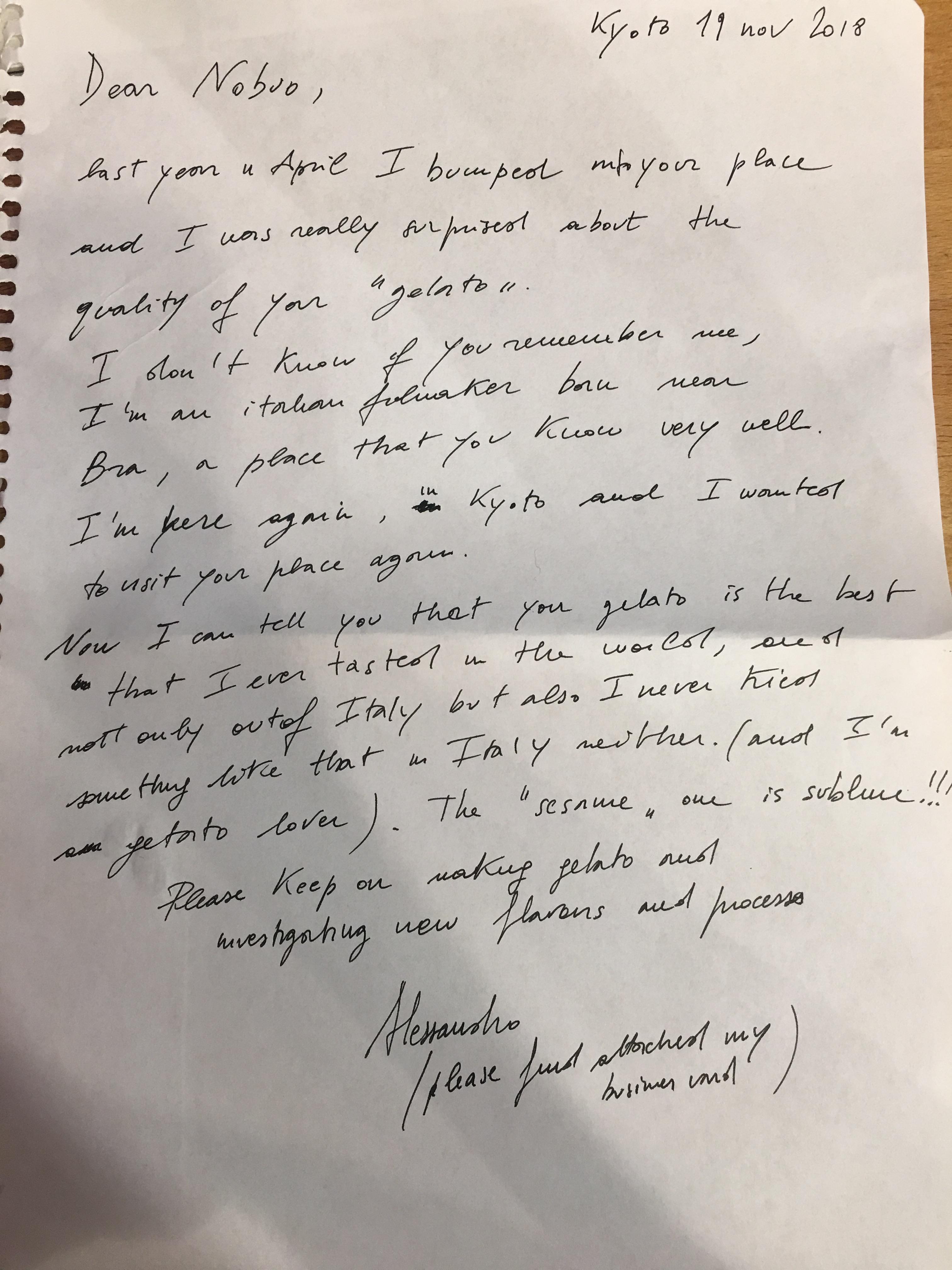 Alessandro様お手紙20181119